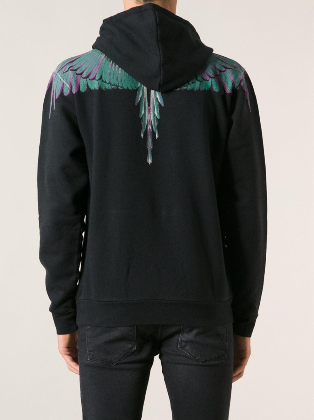 Marcelo Burlon Cotton Feathers Print Hoodie in Black for Men