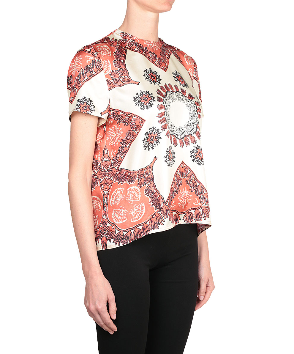 Lyst valentino printed silk t shirt in red for Red valentino t shirt