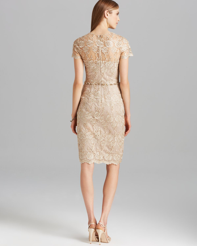 David meister Dress Short Sleeve Metallic Lace Beaded Waist in ...