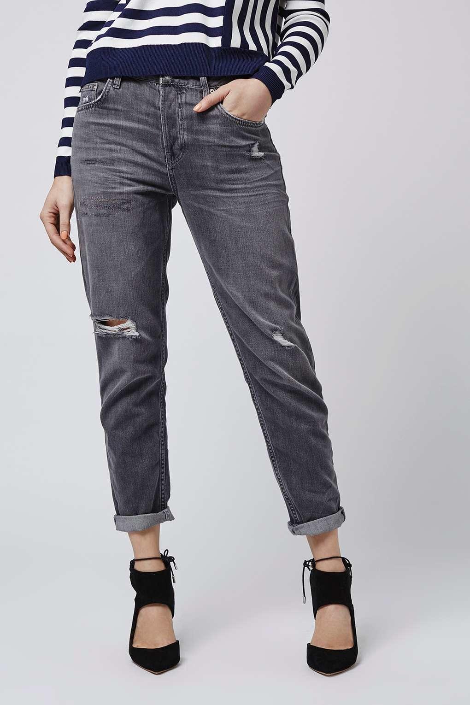 arriving crazy price fresh styles TOPSHOP Denim Moto Rip Hayden Boyfriend Jeans in Grey (Blue) - Lyst