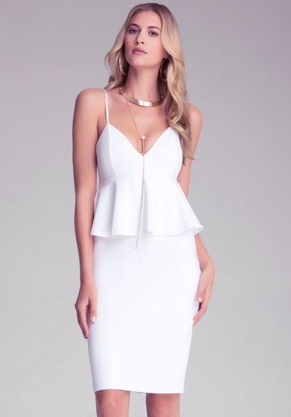 Bebe midi empire waist dress in white lyst for Empire waist t shirt dress