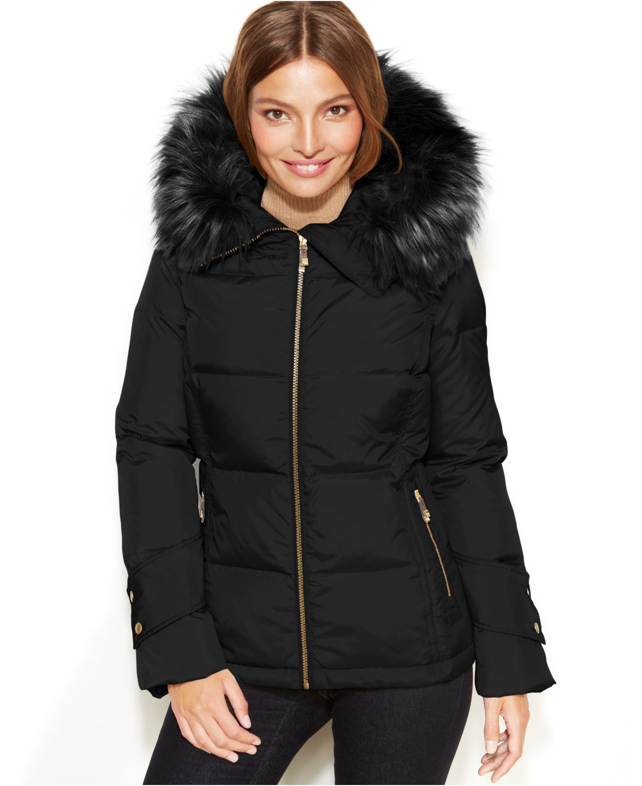 Calvin klein Hooded Faux-Fur-Trim Quilted Puffer Coat in Black | Lyst