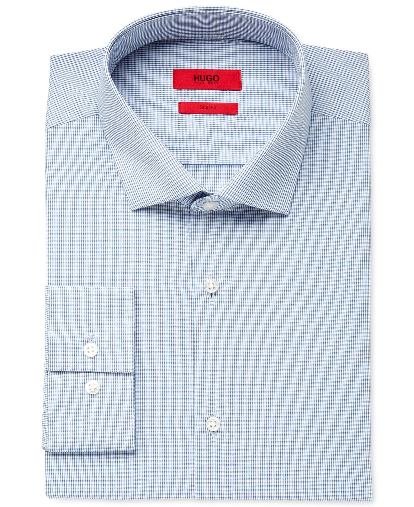 Boss hugo slim fit light blue micro check dress shirt in for Hugo boss formal shirts