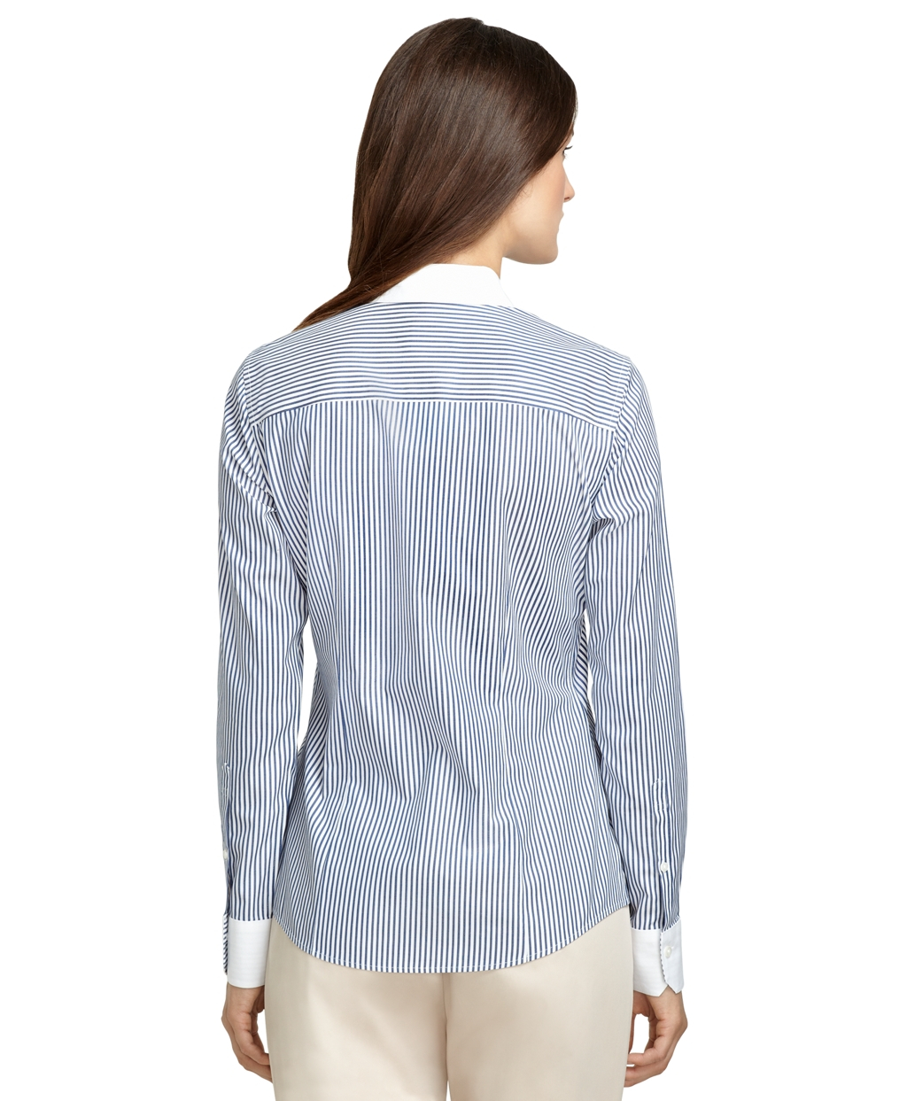 Brooks brothers tailored fit noniron thin stripe dress for Brooks brothers dress shirt fit guide