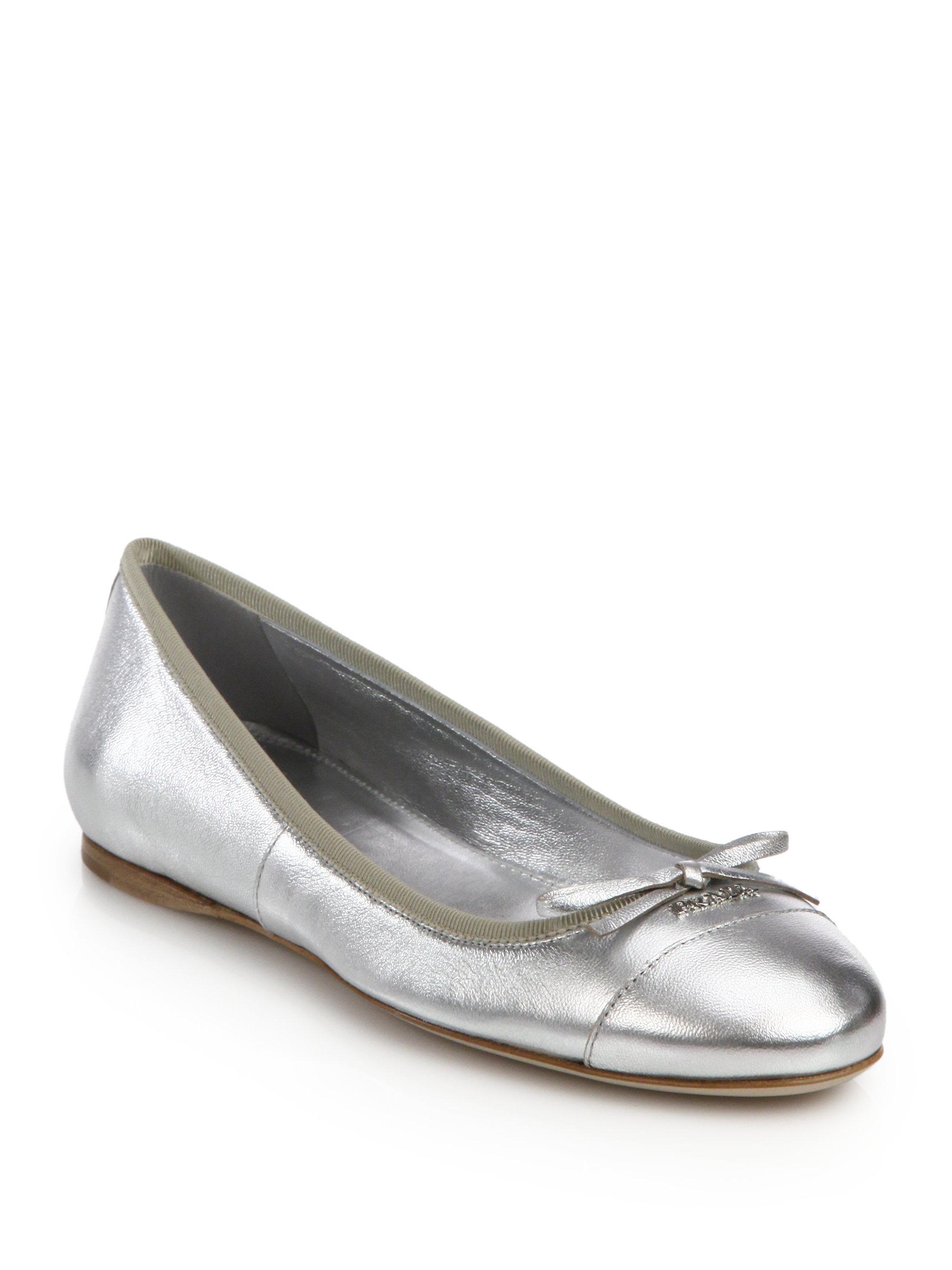 prada metallic leather ballet flats in silver lyst