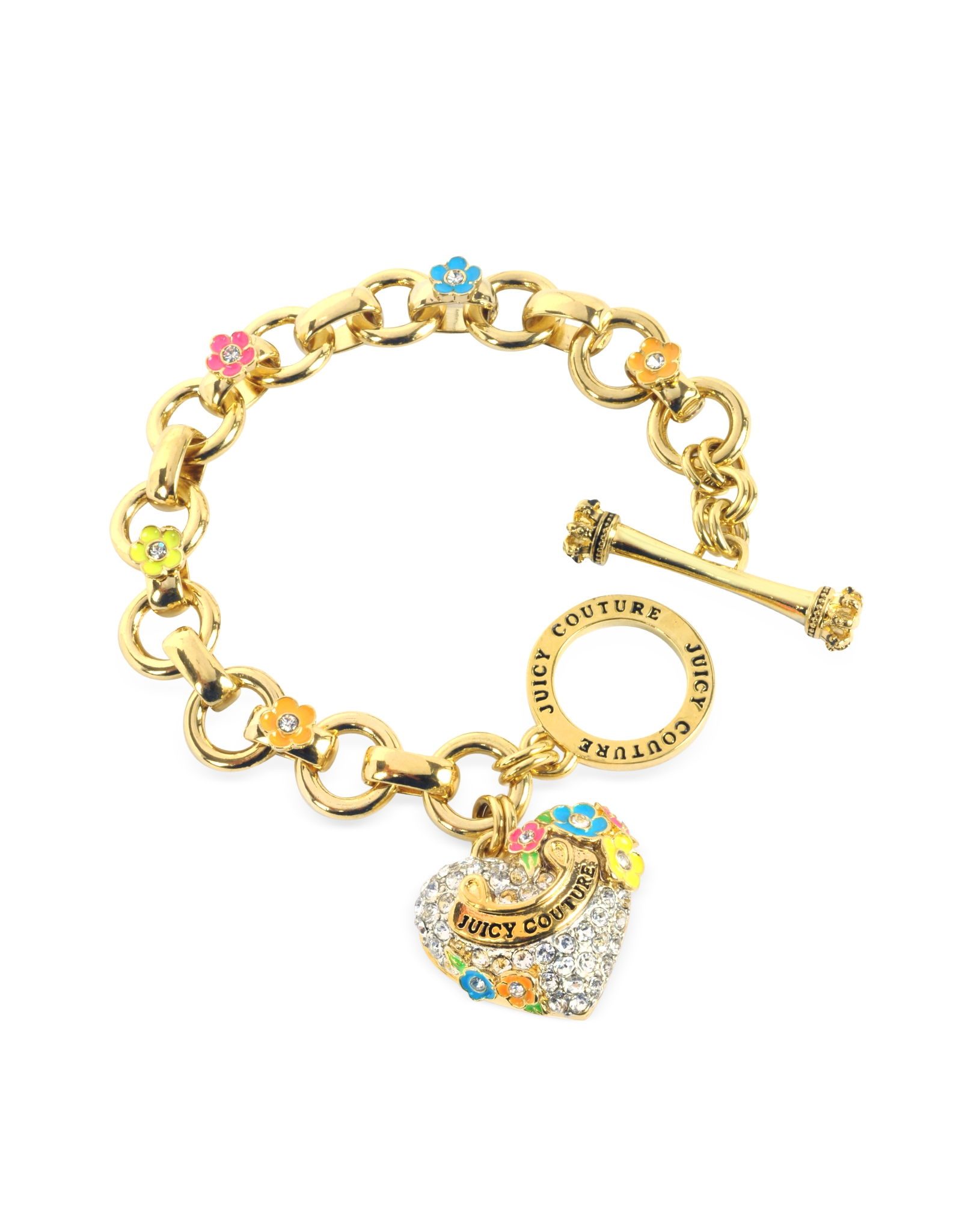 juicy couture pave heart and flower charm bracelet in gold