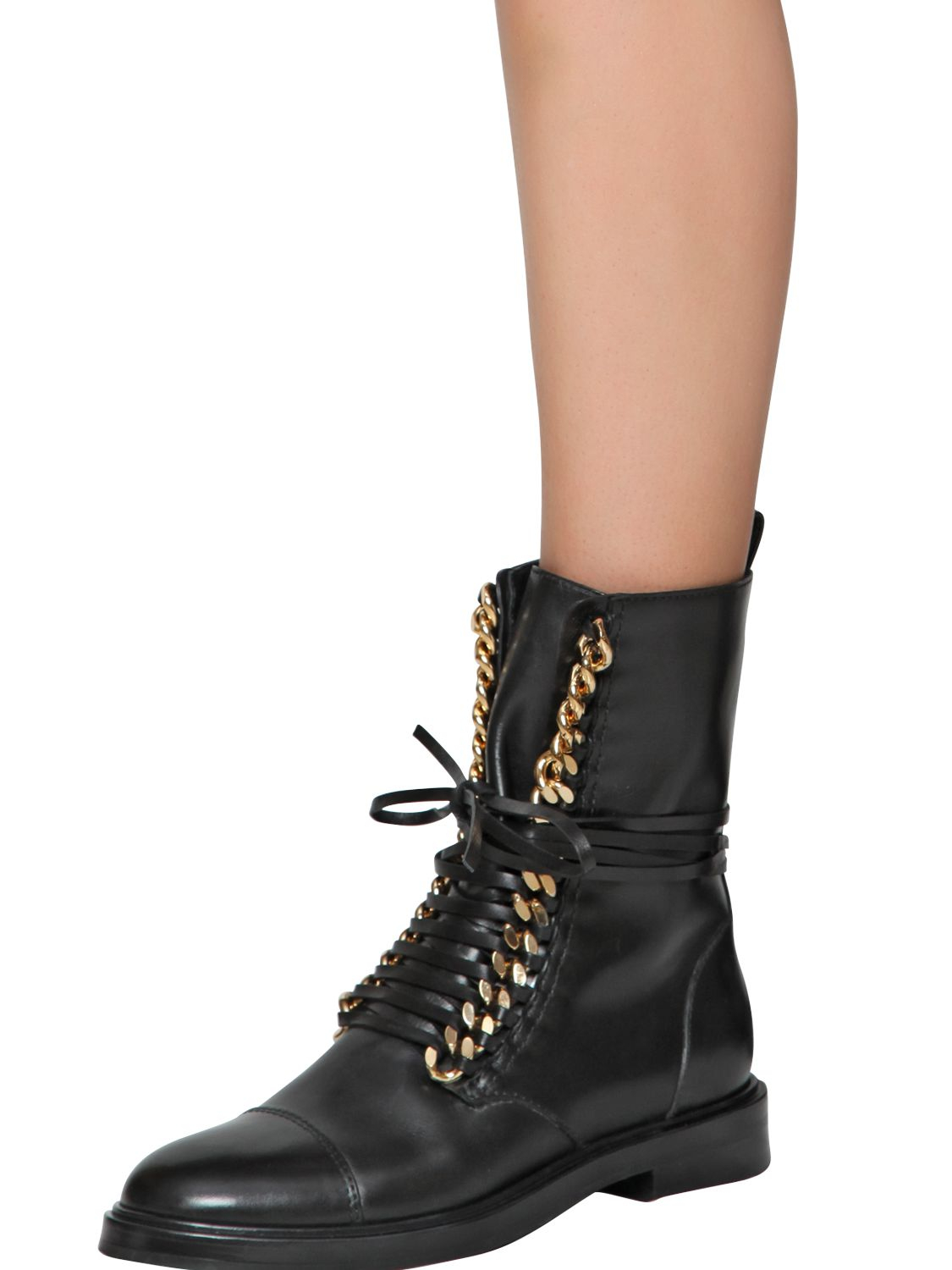 Casadei 30mm Chained Leather Combat In Black Lyst