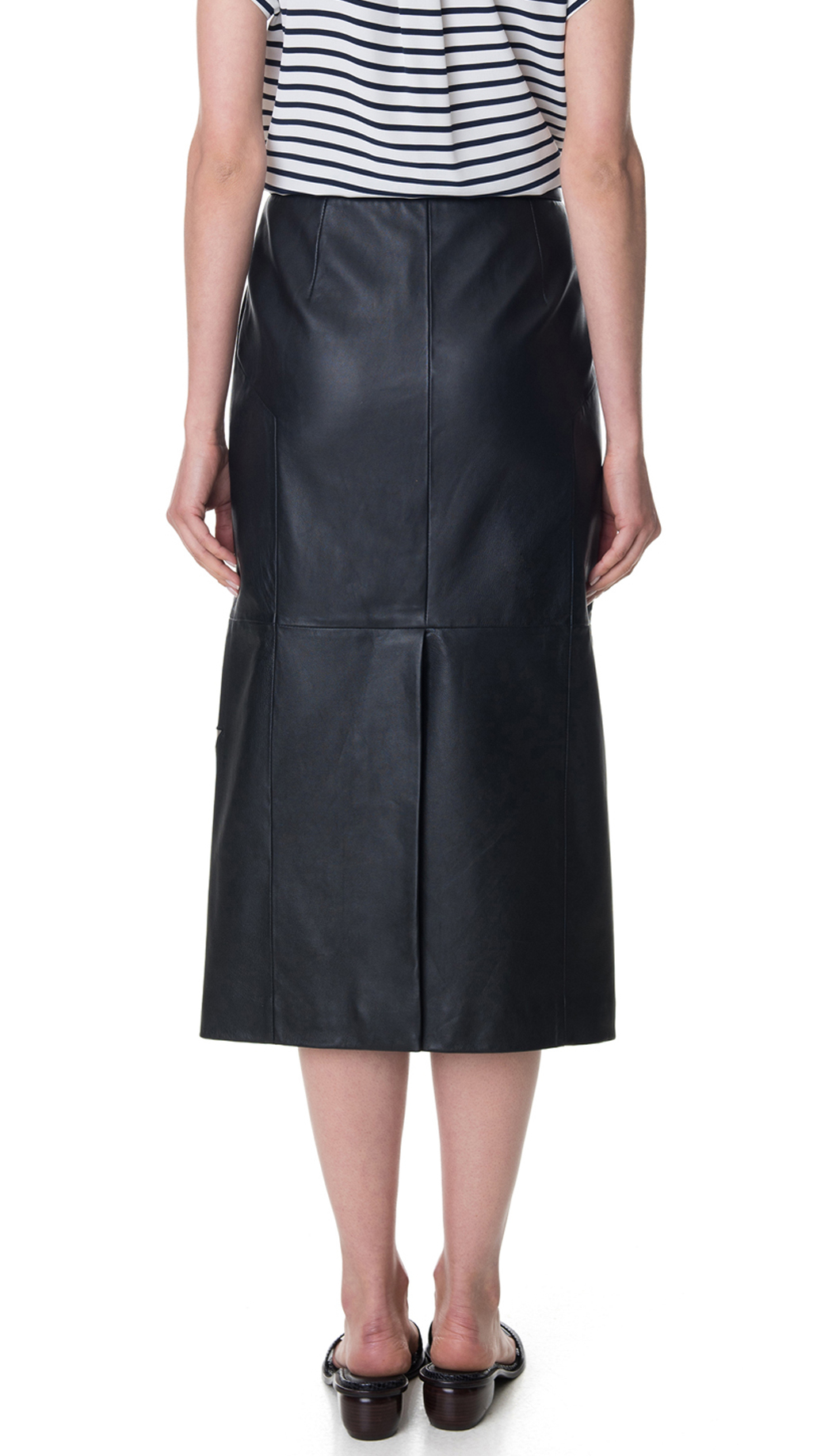 tibi leather applique skirt in blue lyst