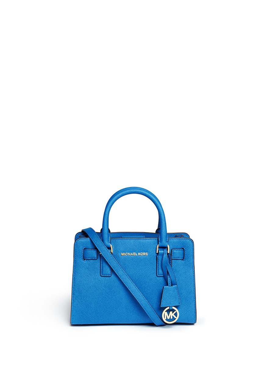 59ac0c8e6cfc ... store lyst michael kors dillon small saffiano leather satchel in blue  dc73c ff495