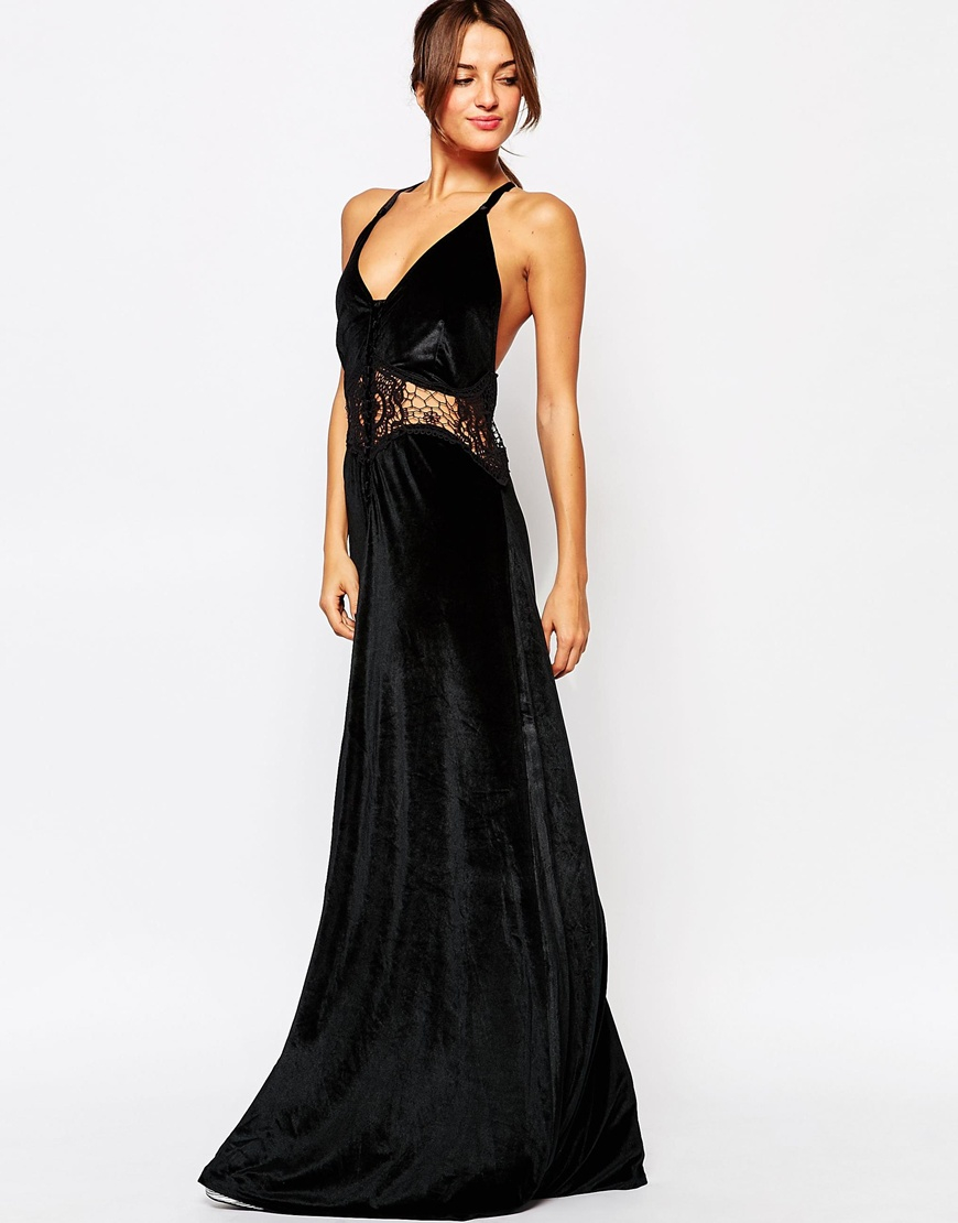 Jarlo Siobhan Velvet Maxi Dress With Lace Insert in Black | Lyst