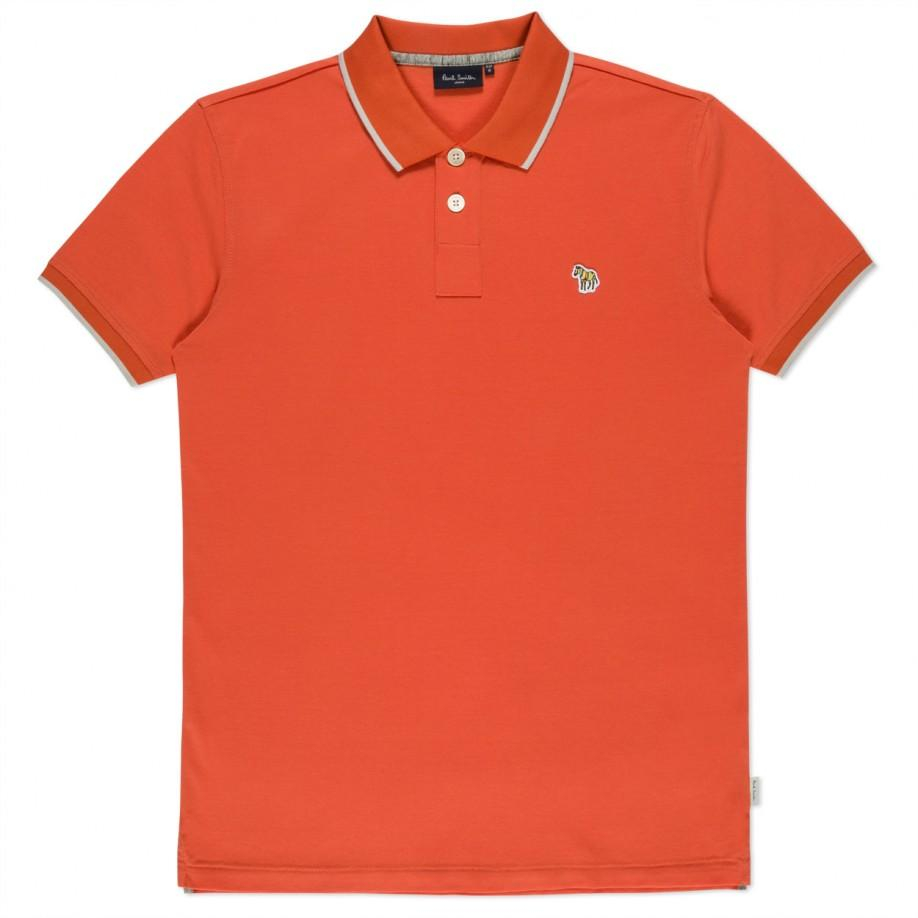 Paul smith orange zebra logo polo shirt in orange for men for Polo shirts with logos