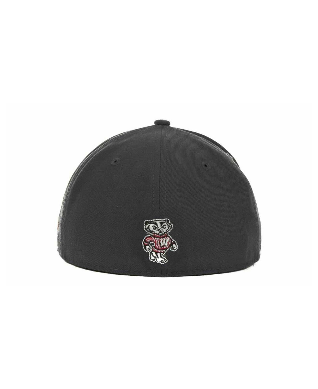 on sale e62f6 1cf54 KTZ Wisconsin Badgers 2-tone Graphite And Team Color 59fifty Cap in ...