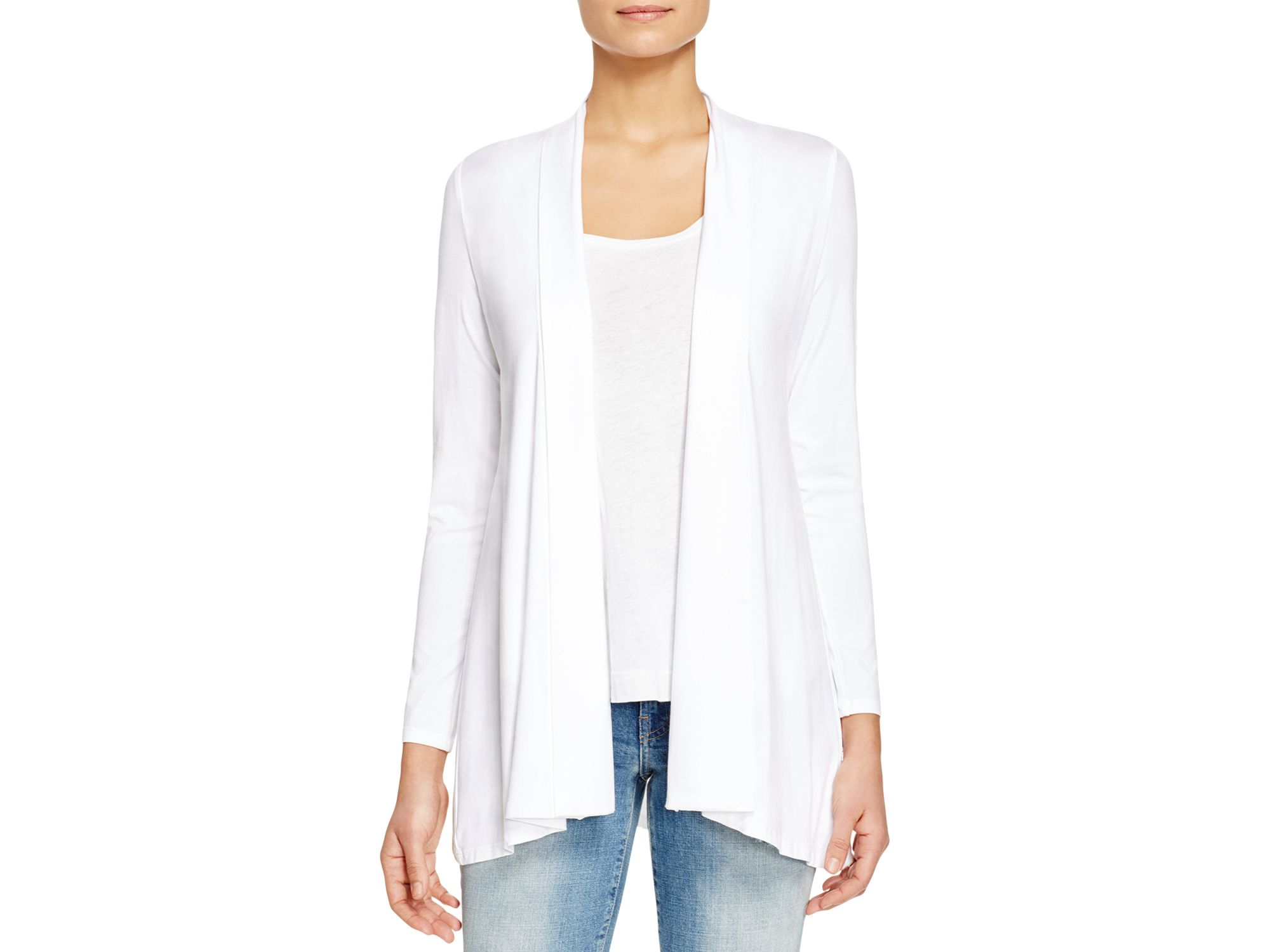 Eileen fisher High Low Stretch Cotton Cardigan in White | Lyst