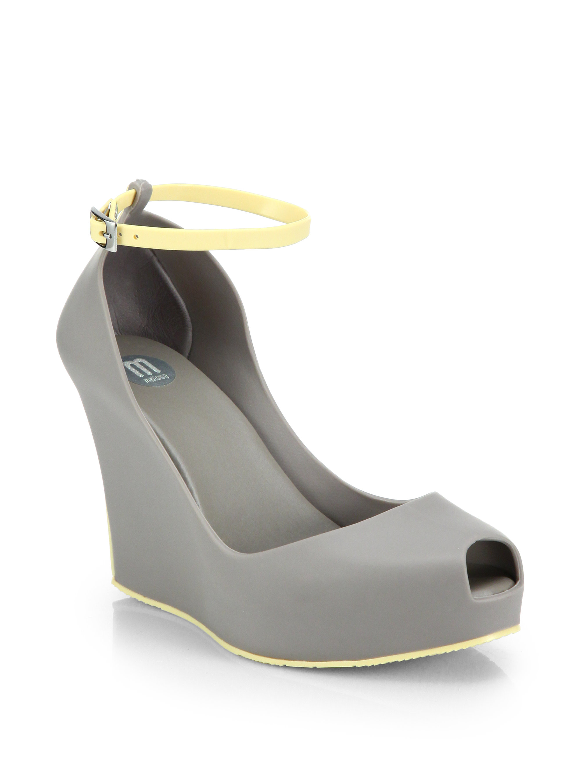 patchuli anklestrap wedge pumps in gray lyst