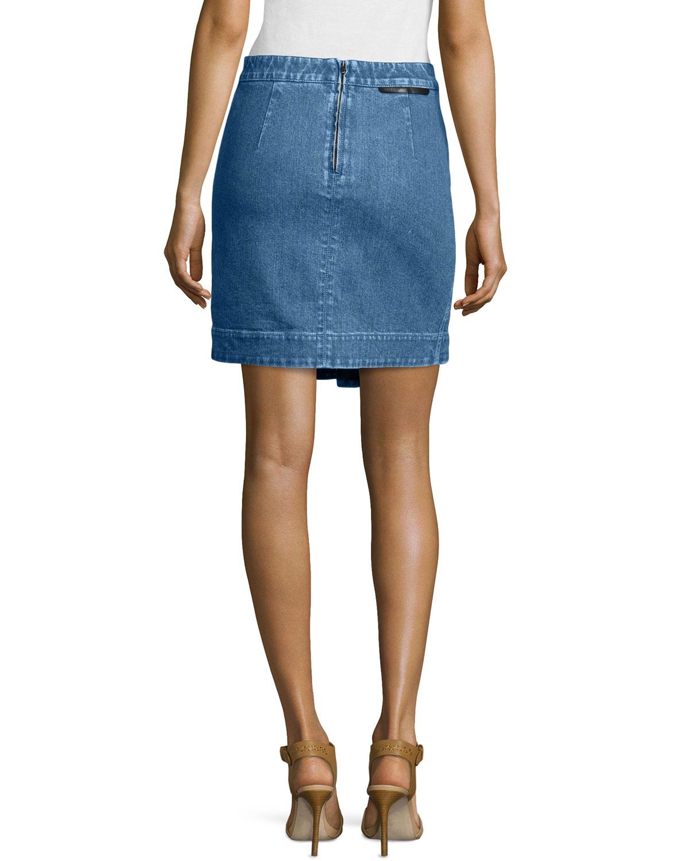stella mccartney pleated denim skirt in blue lyst