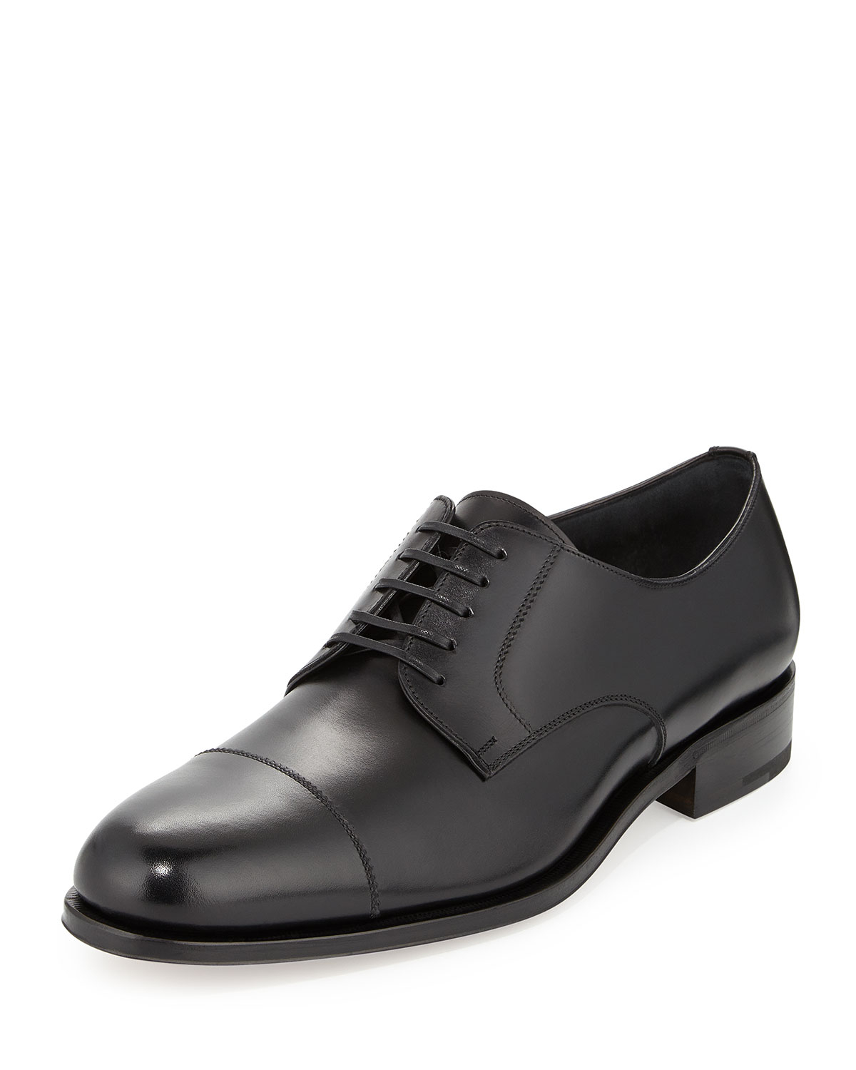 ferragamo rand calfskin lace up shoes in black for lyst