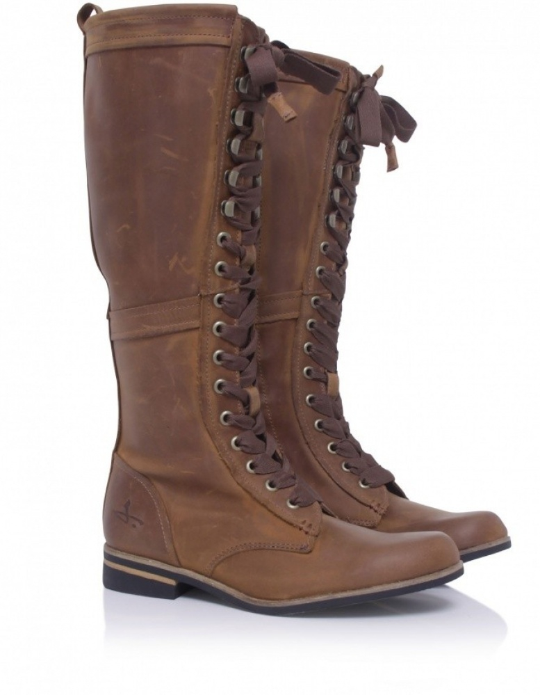 J Shoes Empire Long Lace Boots In Brown | Lyst