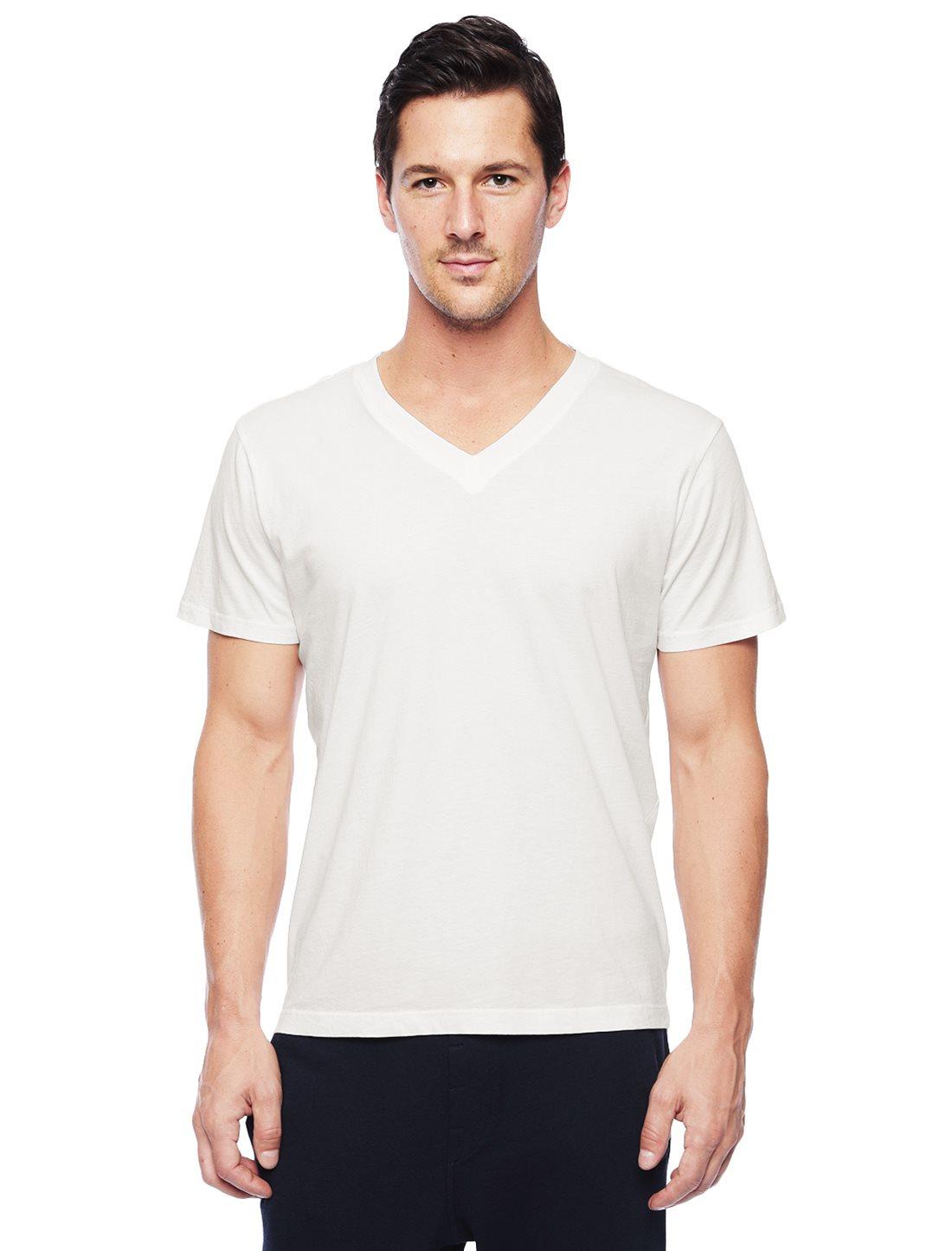 Splendid pigment v neck tee in white for men off white for White v neck shirt mens