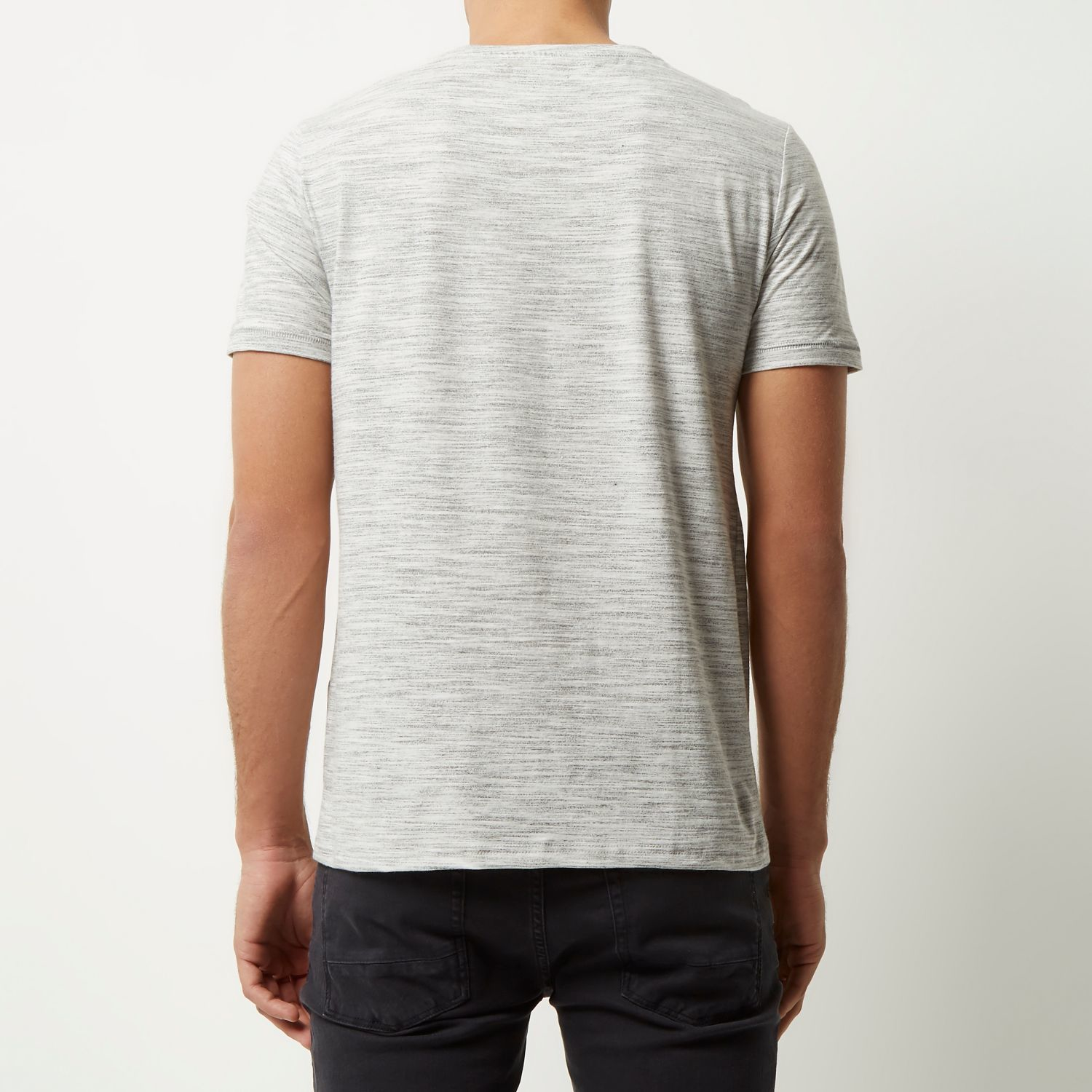 River island grey marl t shirt in gray for men lyst for Grey marl t shirt