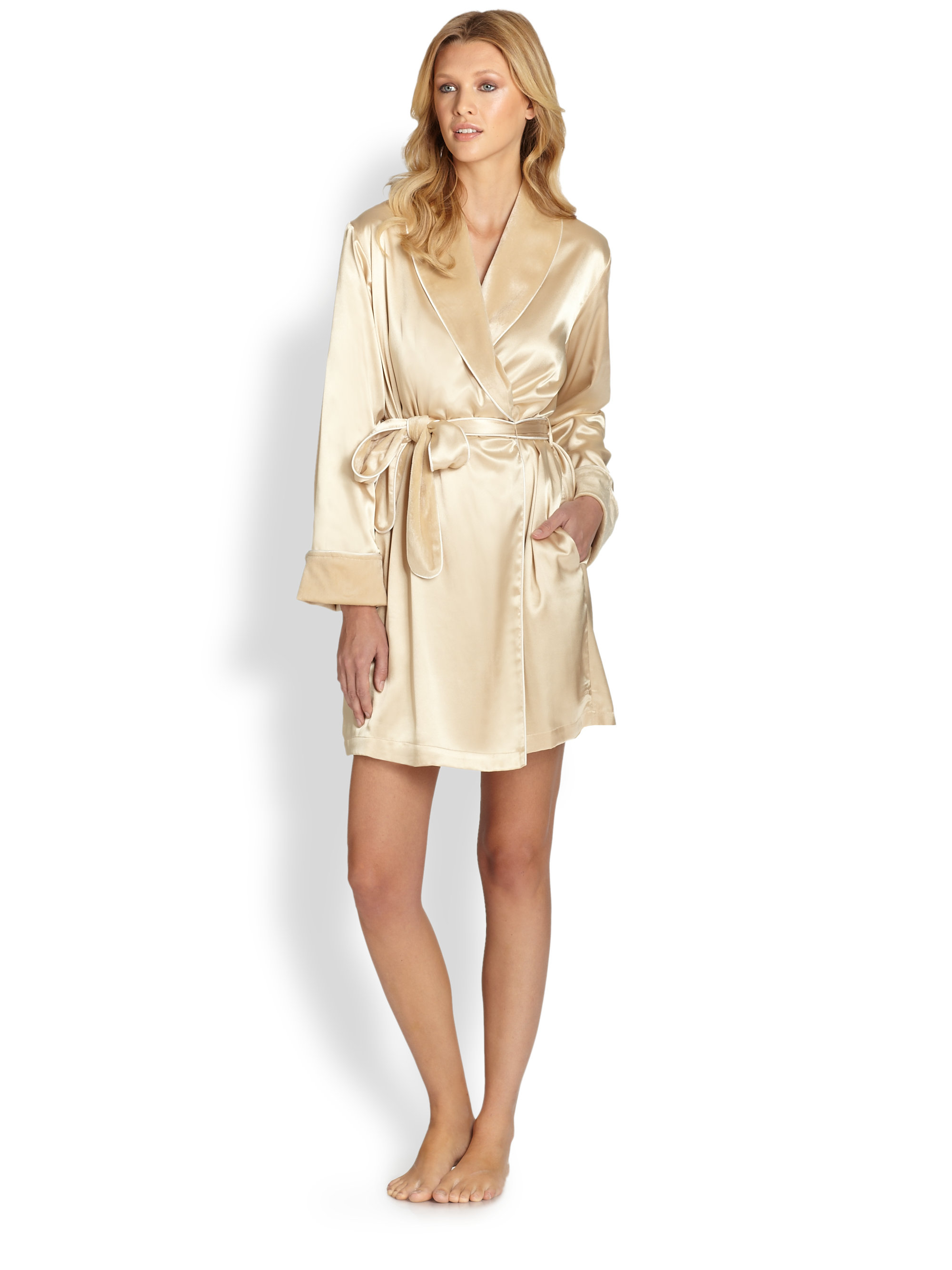 Wedding Satin Robes oscar de la renta faux fur lined satin robe in metallic lyst gallery