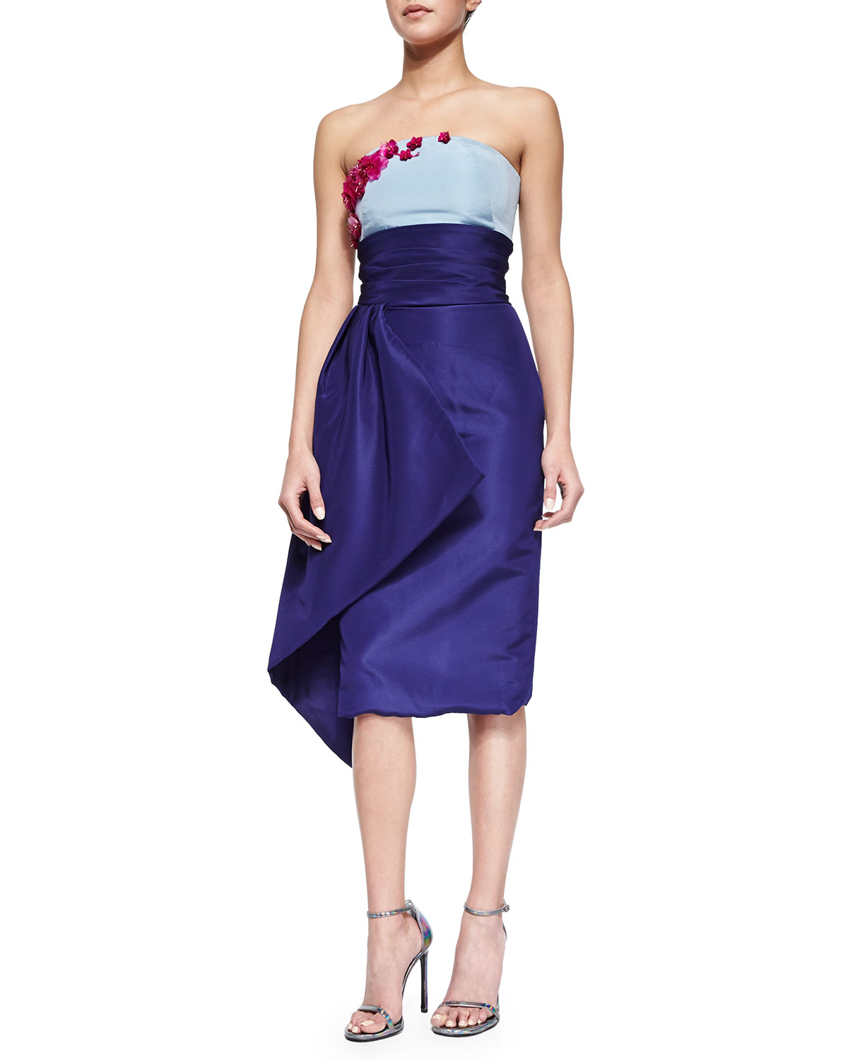 Pamella Roland Strapless Floral-Embroidered Colorblock