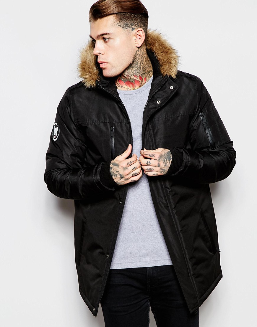 Good for nothing Parka With Faux Fur Hood in Black for Men | Lyst