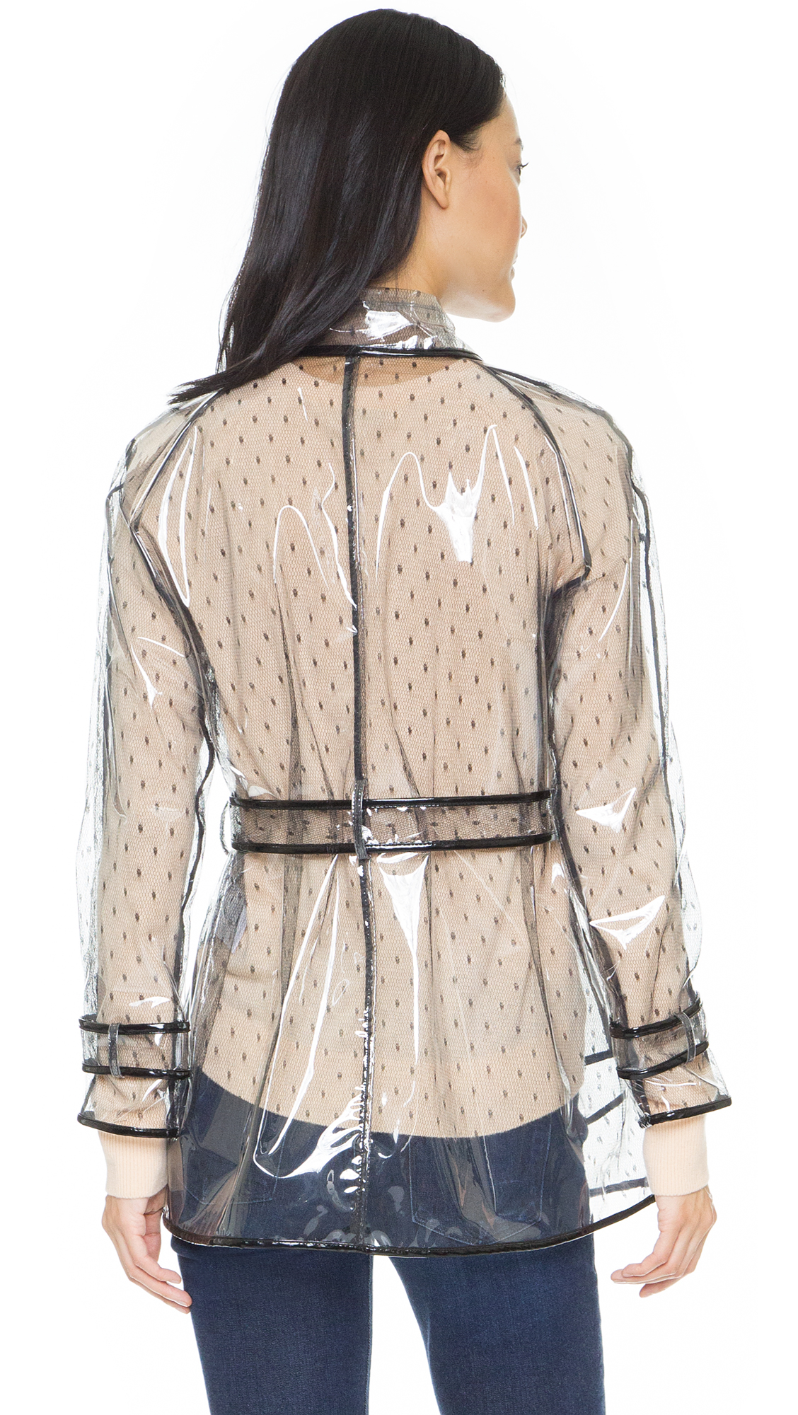 Red Valentino Lace Transparent Trench Coat In Black Lyst