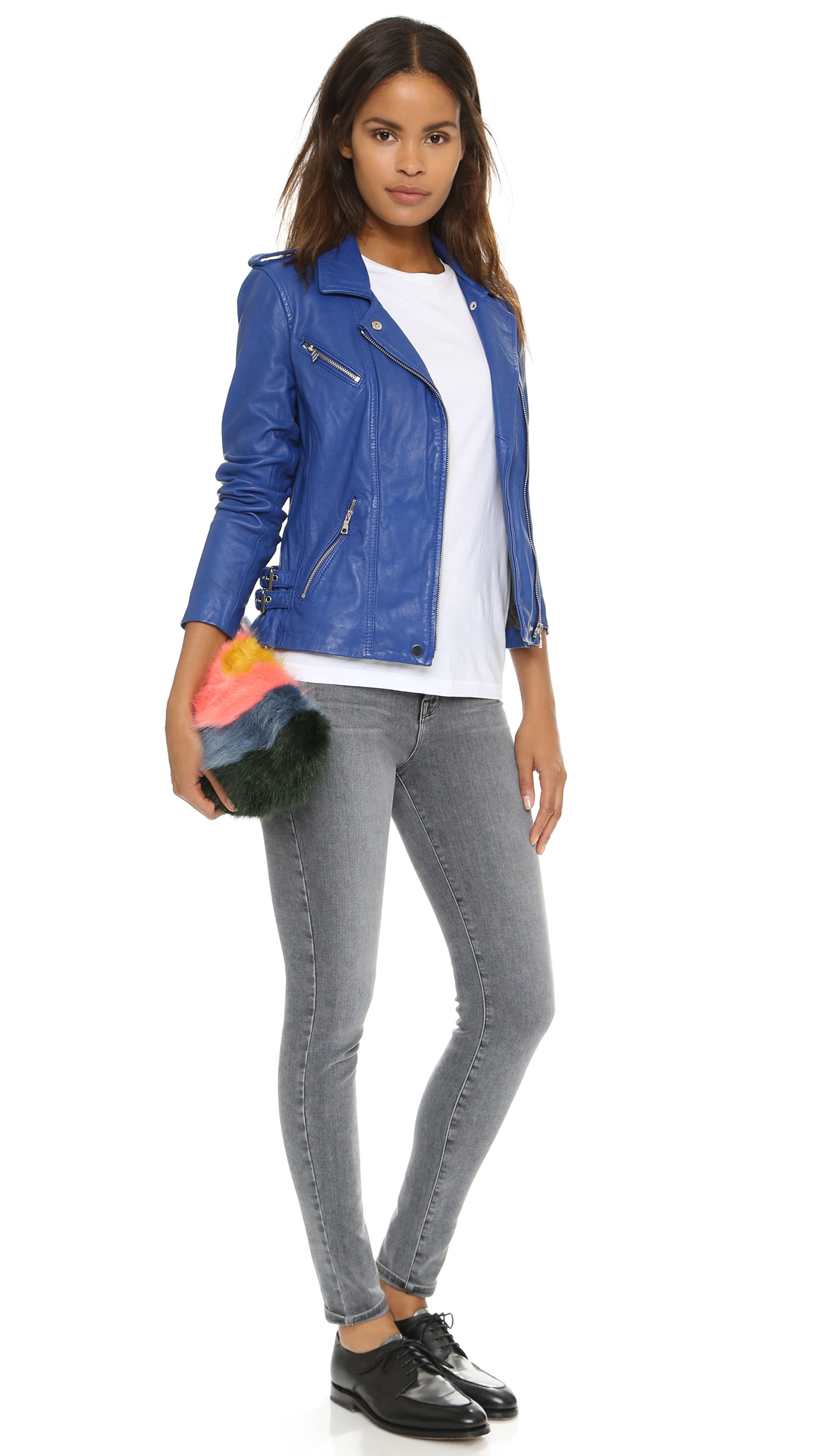 Rebecca taylor Washed Leather Jacket - Electric Blue in Blue | Lyst
