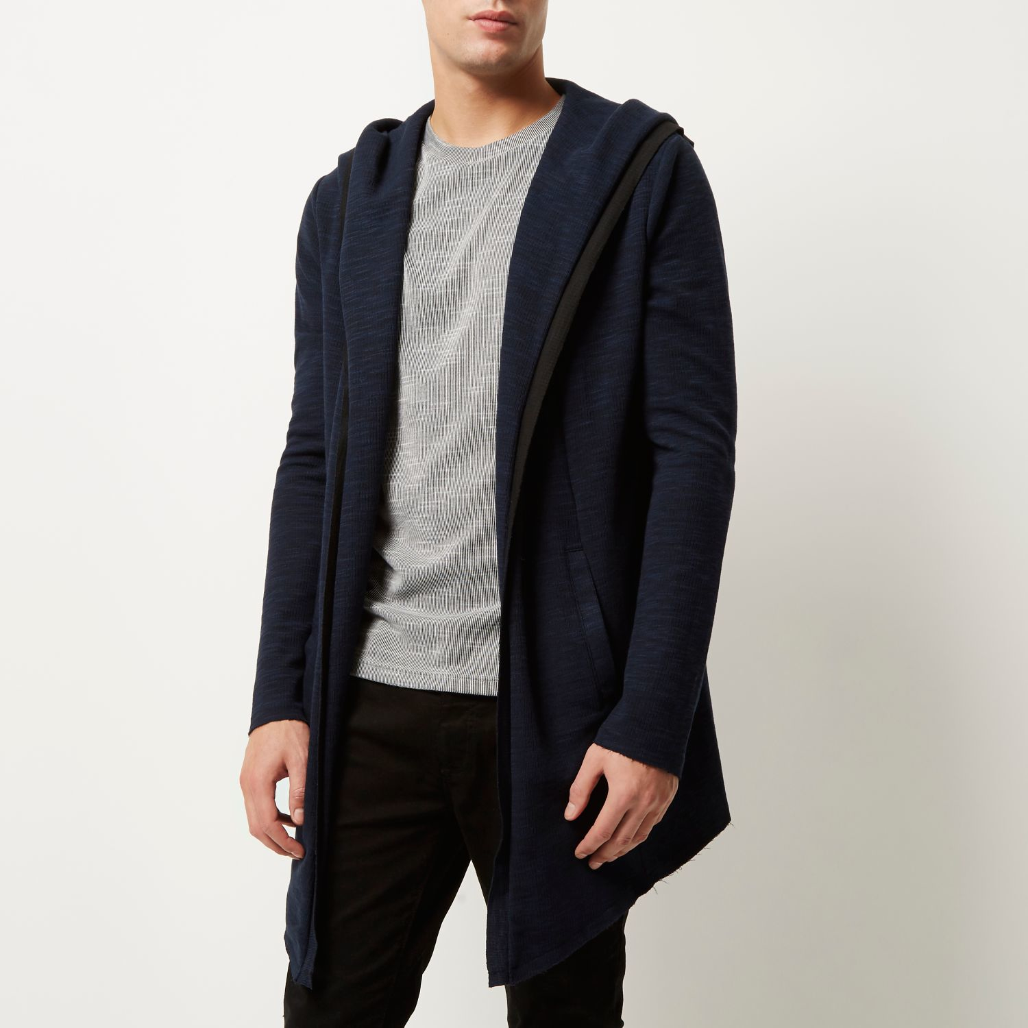 River Island Navy Longline Waterfall Hooded Cardigan In