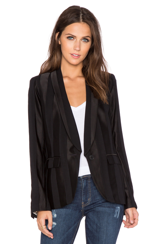 Lyst smythe louche striped blazer in black for Smythe designer