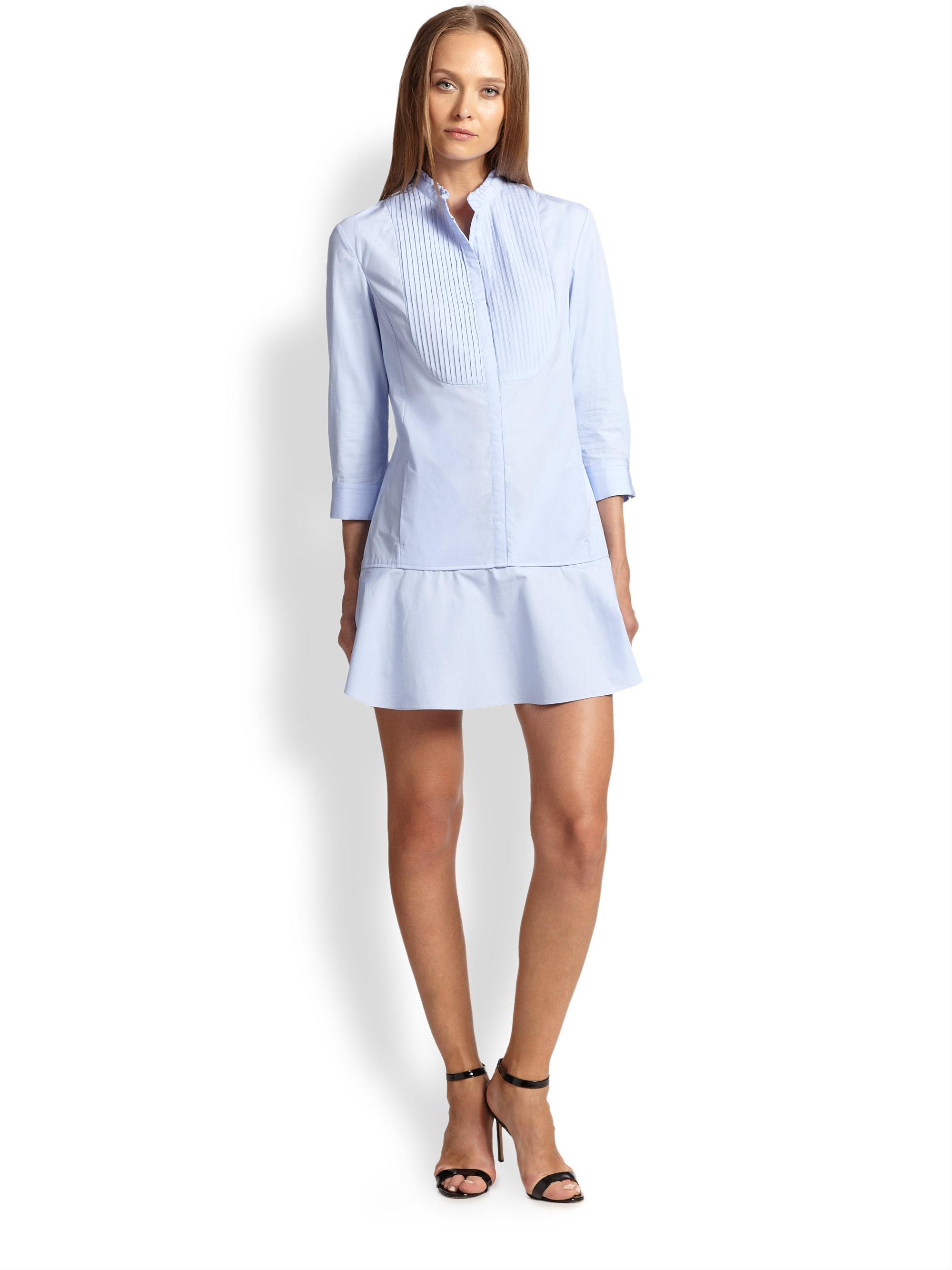 Nina ricci Poplin Mini Shirtdress in Blue | Lyst