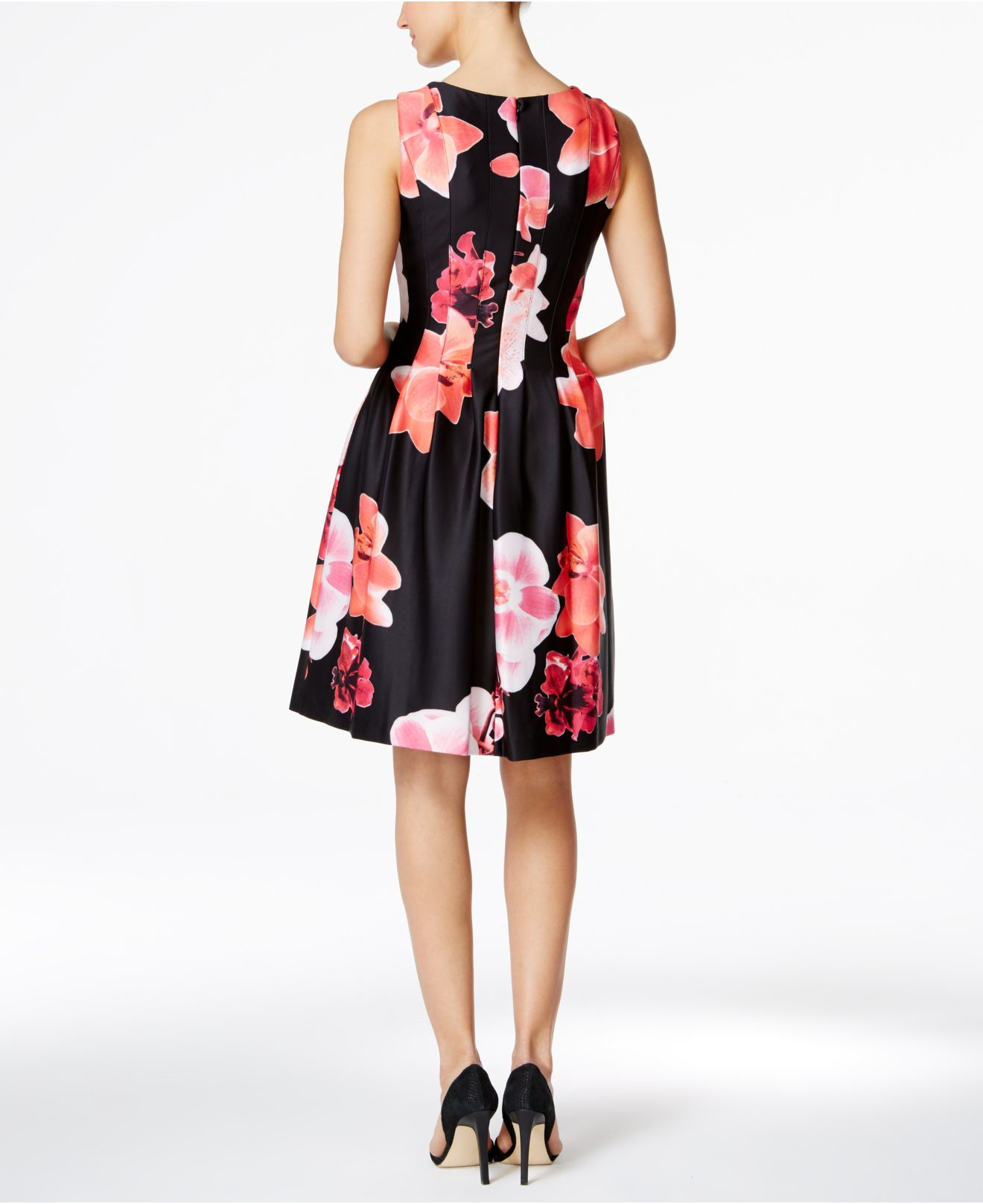 Calvin Klein Synthetic Petite Floral Print Fit Amp Flare