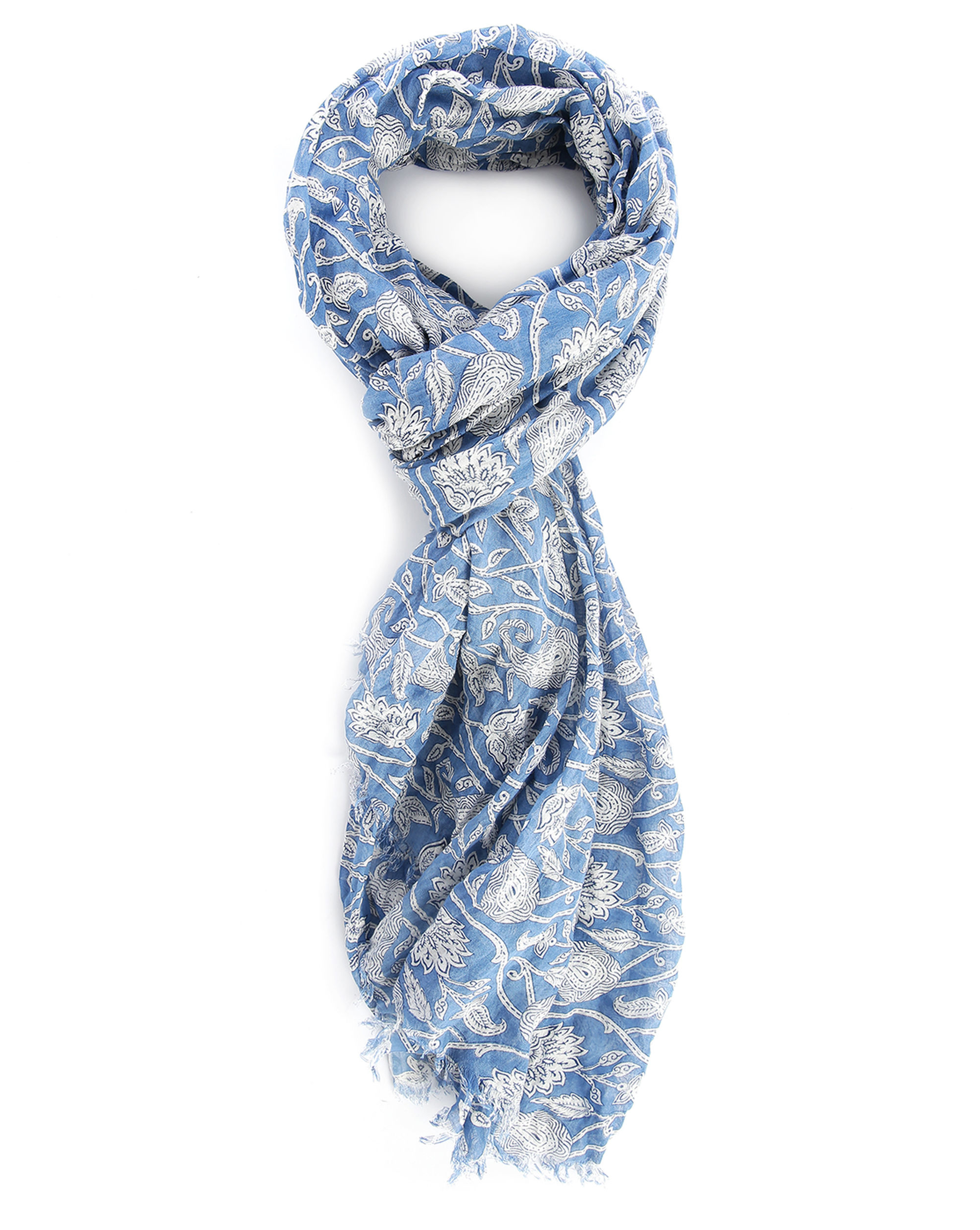 closed leaves print scarf in blue for lyst