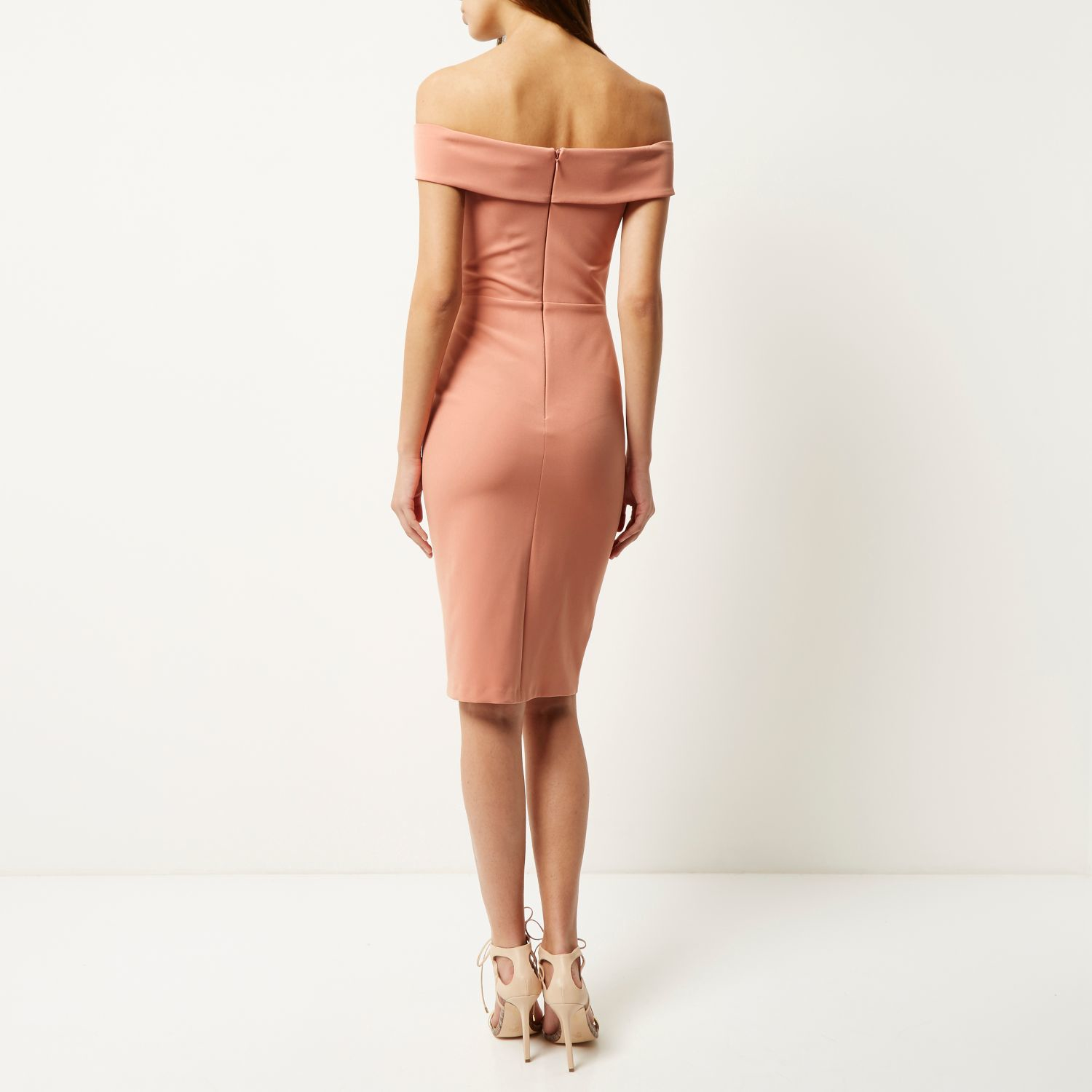 And island river bright bodycon midi dress pink and