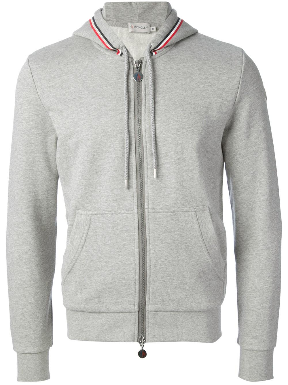 e0093fcc3 Moncler Gray Zip Front Hoodie for men