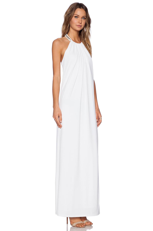 Rachel zoe Ira Chain Halter Maxi Dress in White | Lyst