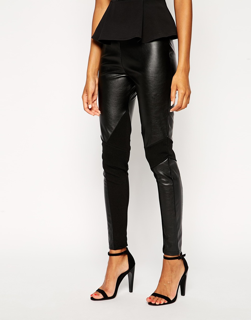 a138fcd48bbf7 Lipsy Michelle Keegan Loves Wet Look Paneled Legging in Black - Lyst