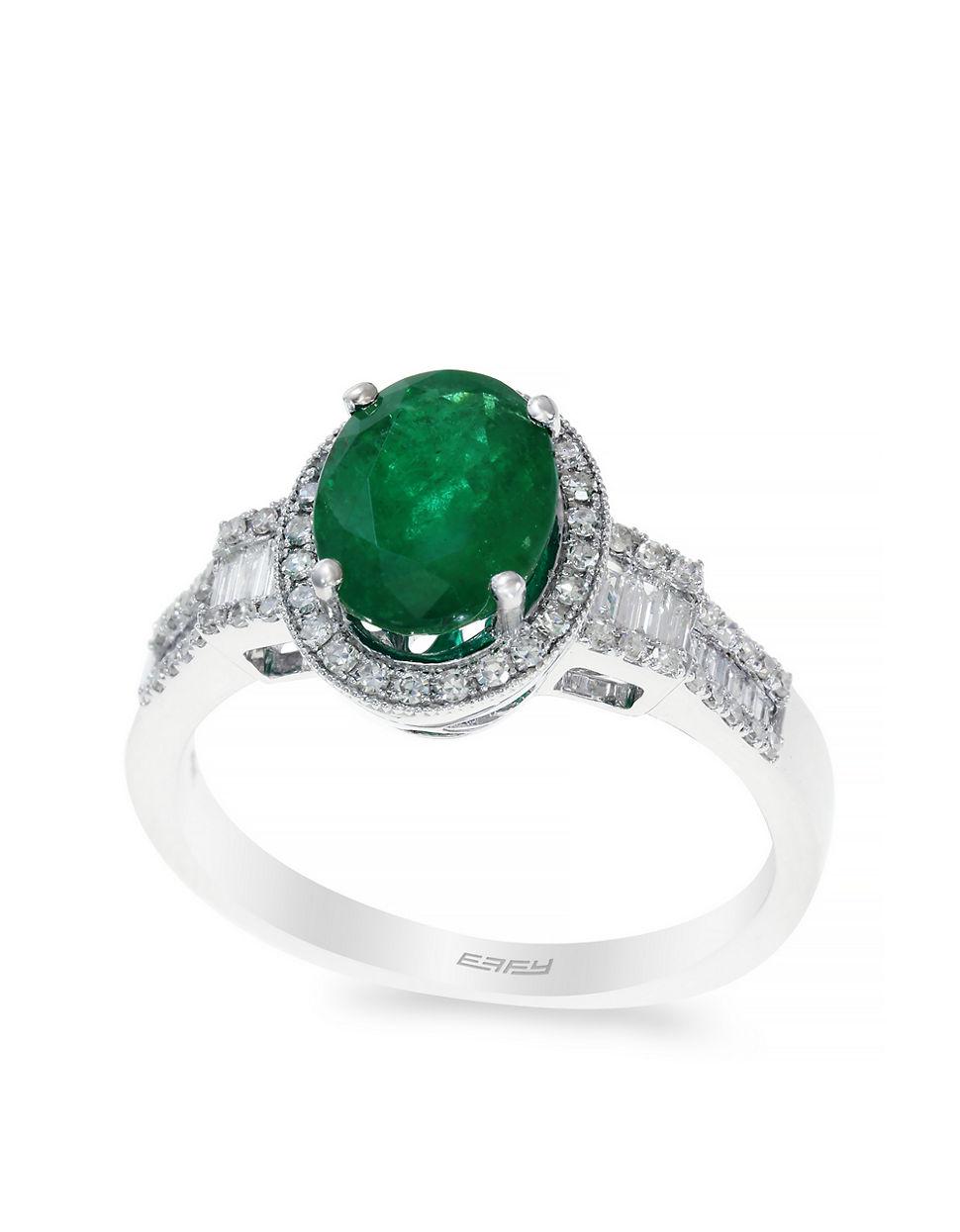 effy 14k white gold emerald and ring in metallic