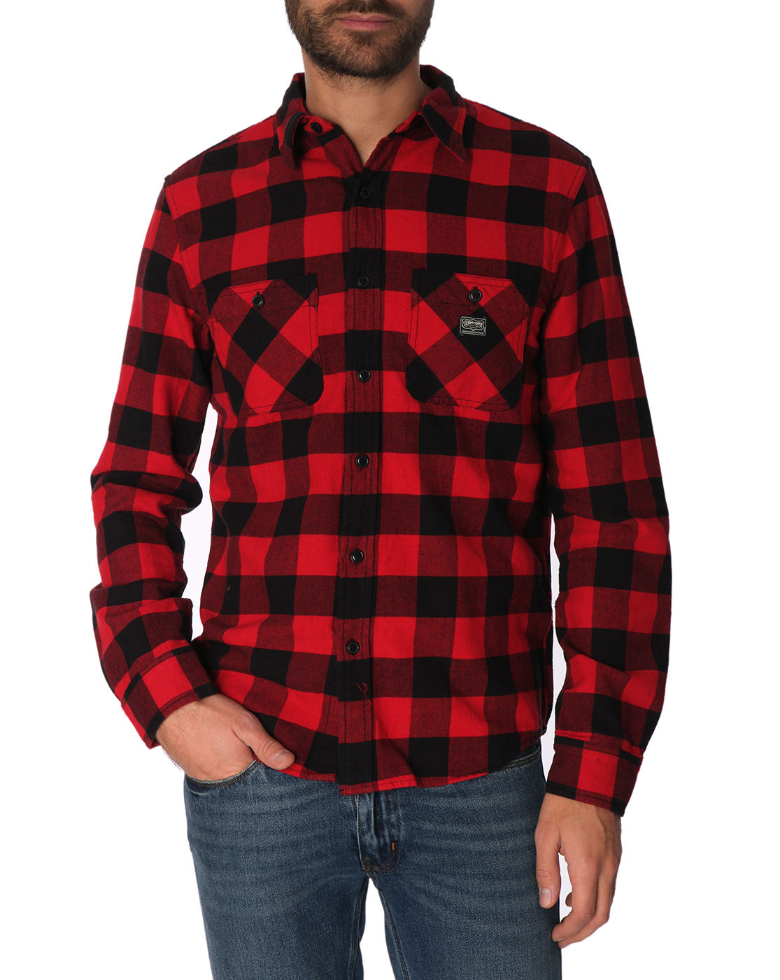 Denim supply ralph lauren black and red plaid shirt in for Dark red plaid shirt