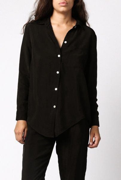 Objects Without Meaning Silk Button Down Shirt In Black