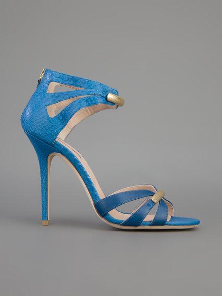 Elie Saab Strappy Sandal In Blue Cobalt Lyst
