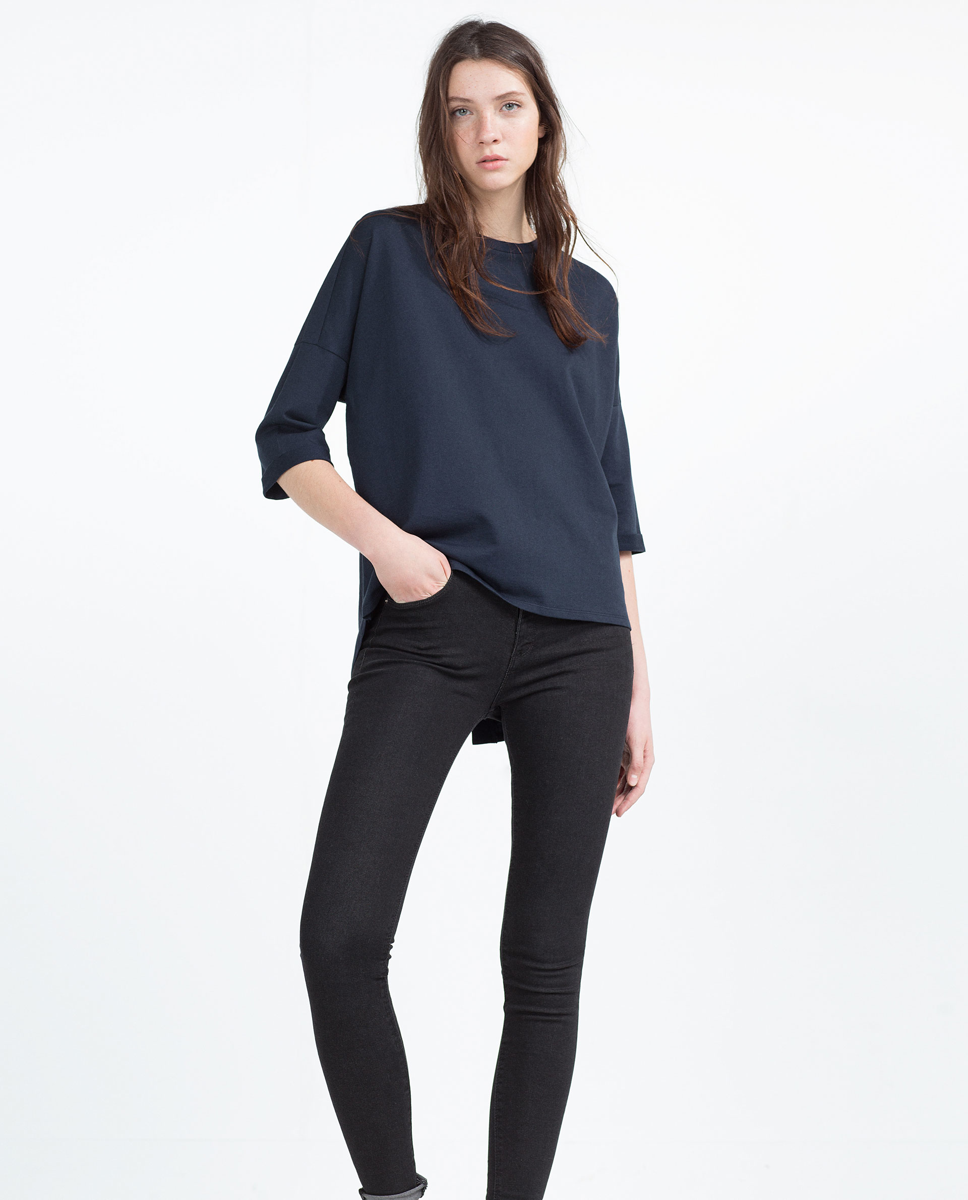 Zara french sleeve t shirt in blue lyst for French blue t shirt