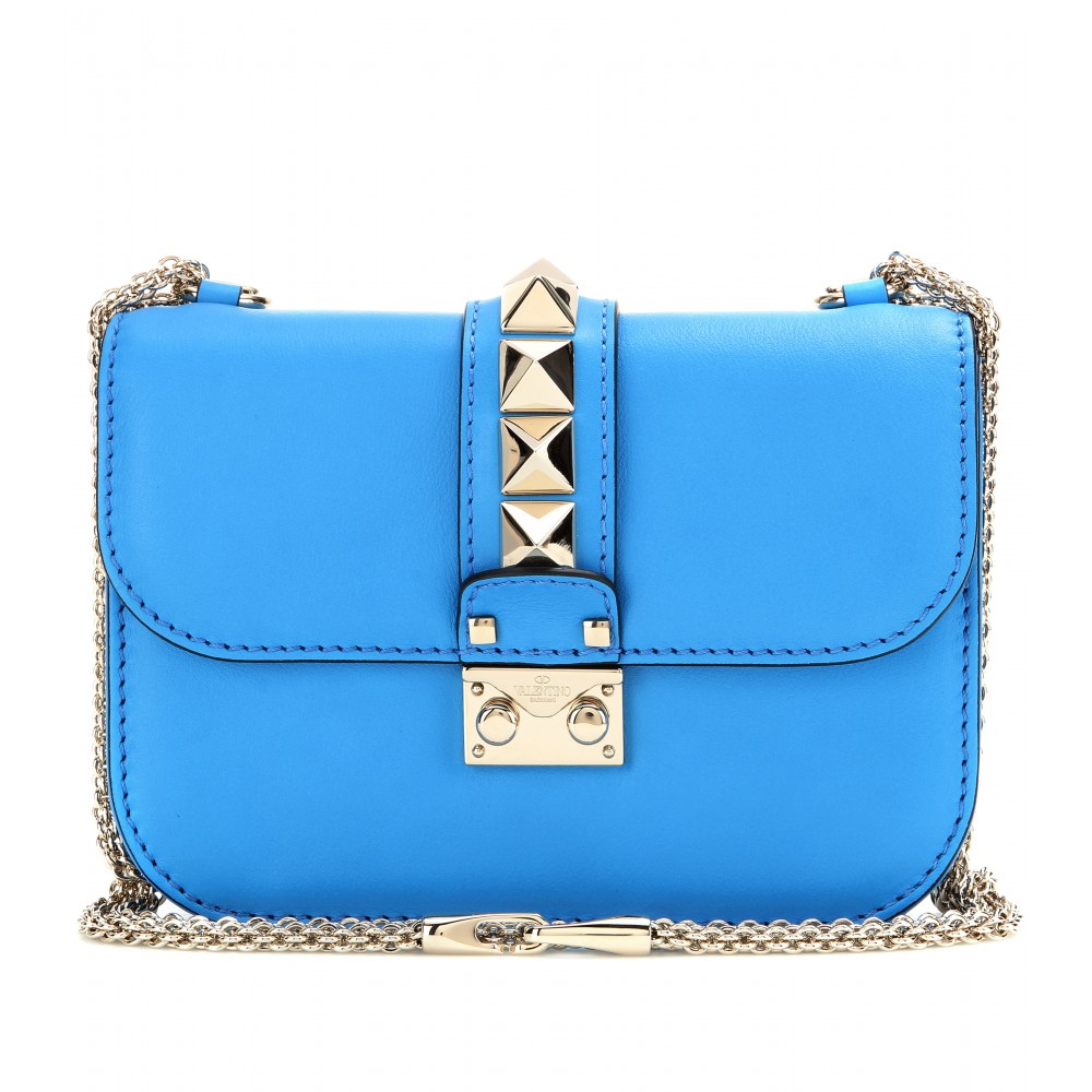 Valentino Lock Leather Shoulder Bag In Blue Lyst