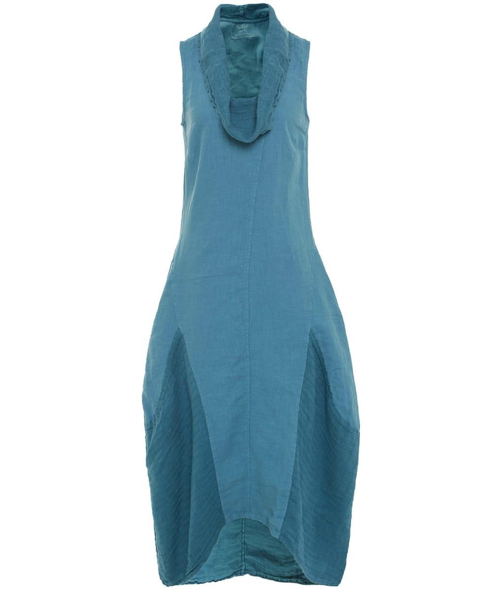 294d5abb357 Lyst - Grizas Cowl Neck Linen Dress in Blue