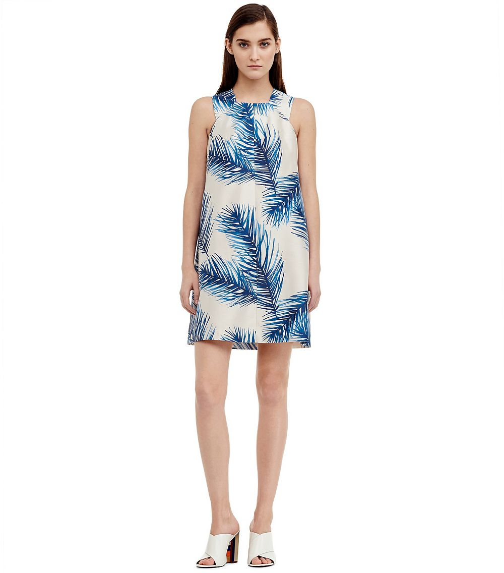 6652c3b166d Lyst - Tory Burch Silk Gazar Square-Neck Dress in Blue