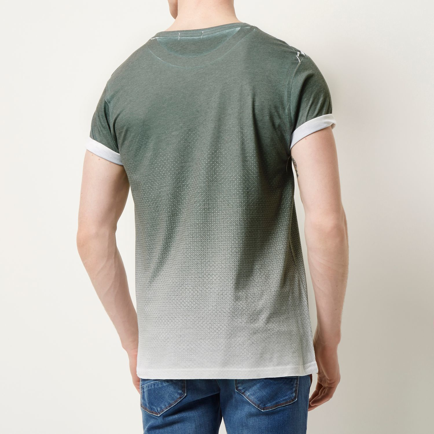 River island green faded chest print t shirt in green for for Faded color t shirts