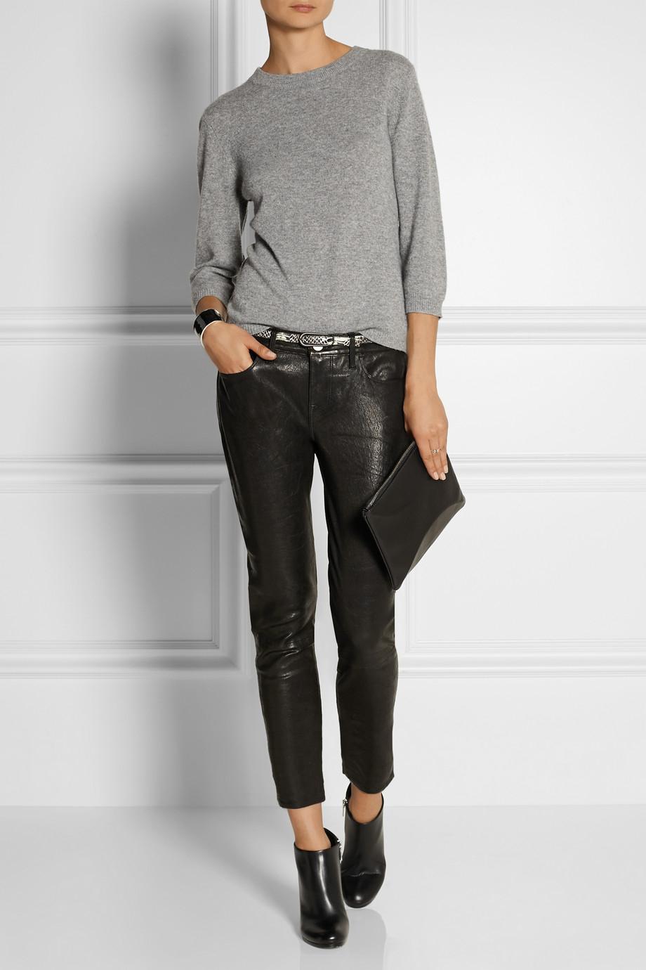Frame Le Garcon Textured Leather Slim Boyfriend Pants In