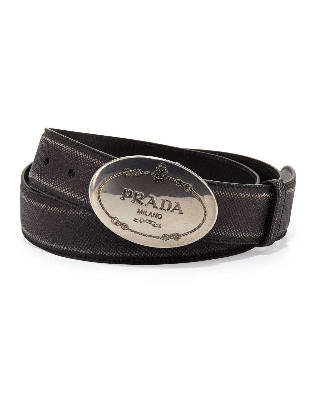 Prada Saffiano Logo Buckle Belt In Black For Men