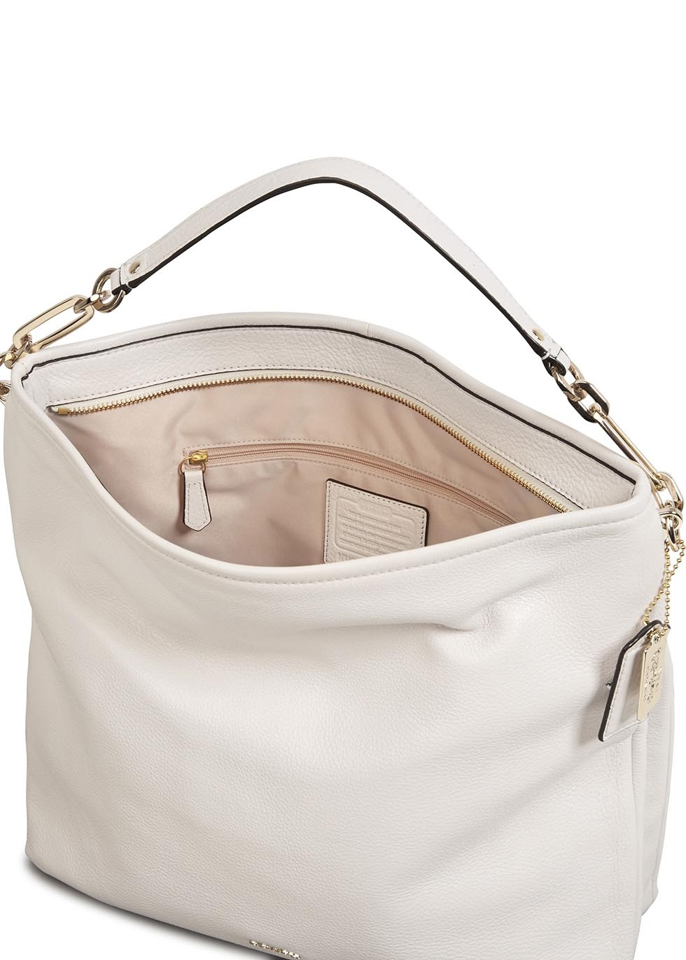 COACH Madison White Grained Leather Hobo Bag in White - Lyst 01386f3a66d62