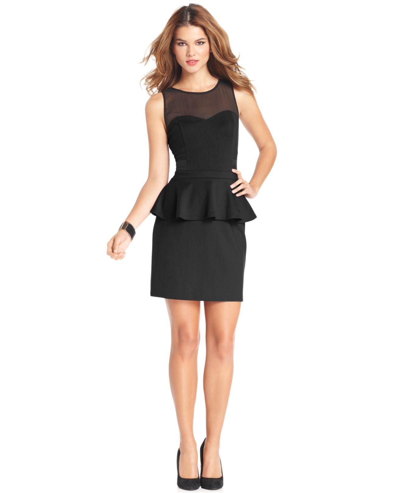 Kensie sleeveless high neck peplum hem dress only at macy for Macy black dress wear to wedding